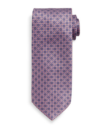 Fancy Neat-Patterned Silk Tie, Blue/Orange