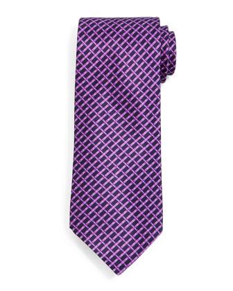 Basketweave-Pattern Silk Tie, Purple/Navy