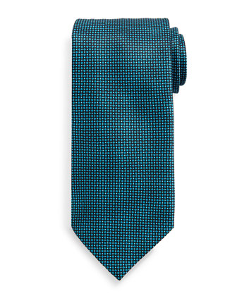 Neat-Patterned Silk Tie, Teal
