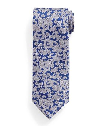 Paisley-Print Silk Tie, Blue/White