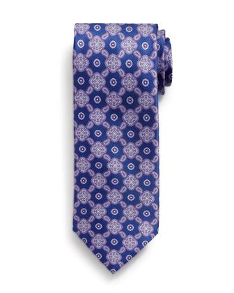 Medallion Pattern Silk Tie, Purple
