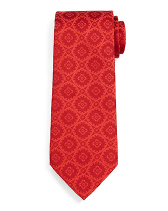 Woven Medallion Silk Tie, Red