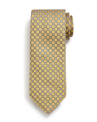 Neat Pattern Silk Tie, Yellow
