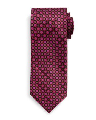 Neat Circle-Pattern Silk Tie, Pink/Red
