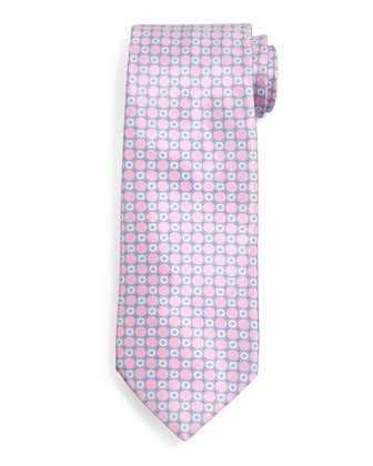 Circle-Grid Pattern Silk Tie, Pink/Light Gray