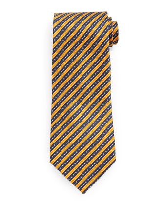 Fancy Striped Silk Tie, Gold/Blue