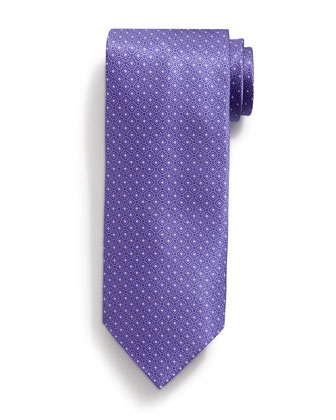 Neat Square-Pattern Silk Tie, Purple