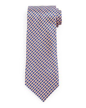 Basketweave-Pattern Silk Tie, Gold