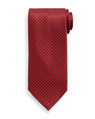 Small Neat Pattern Silk Tie, Red