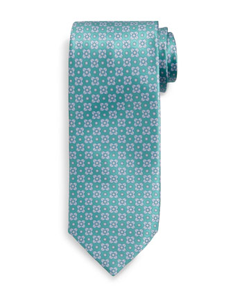 Neat Square-Pattern Silk Tie, Teal