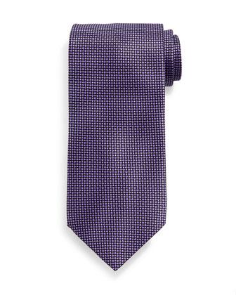 Neat-Pattern Silk Tie, Purple