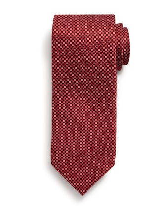 Small Neat-Pattern Silk Tie, Red