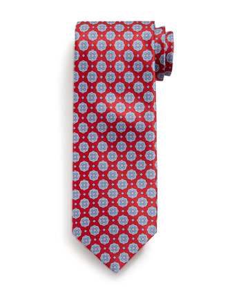 Medallion-Print Silk Tie, Red