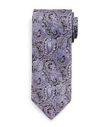 Fancy Paisley-Print Silk Tie, Purple
