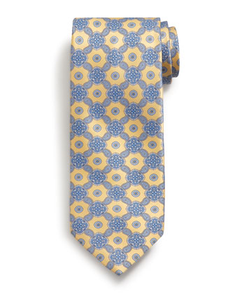 Medallion-Print Silk Tie, Yellow