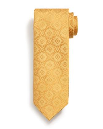 Tonal Medallion-Print Woven Tie, Yellow