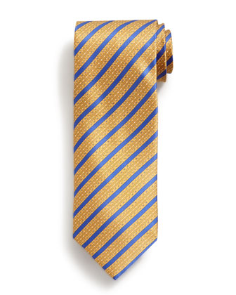 Bold Stripe Print Silk Tie, Yellow