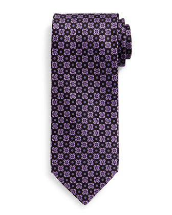 Neat Square-Patterned Silk Tie, Purple