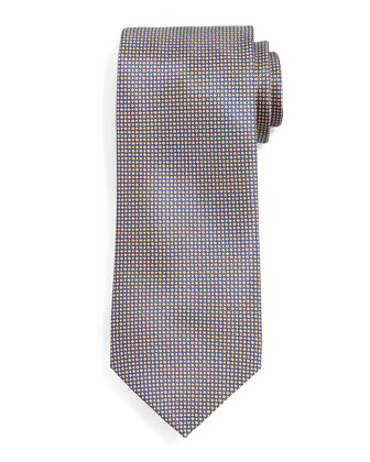 Diamond Neat Silk Tie, Gold