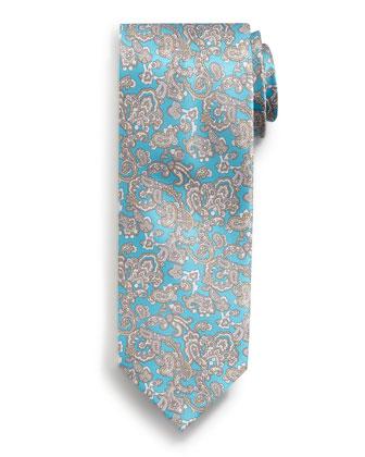 Paisley-Print Silk Tie, Teal
