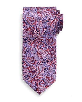 Fancy Paisley-Print Silk Tie, Red