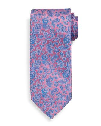 Fancy Paisley-Print Silk Tie, Pink