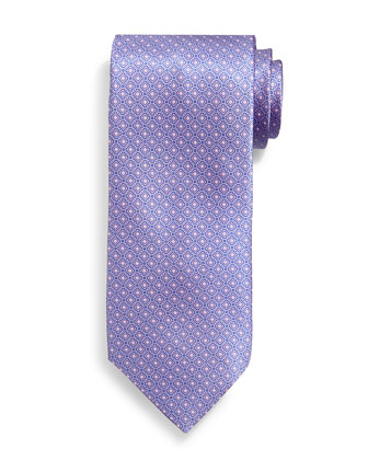 Neat Square-Patterned Silk Tie, Salmon