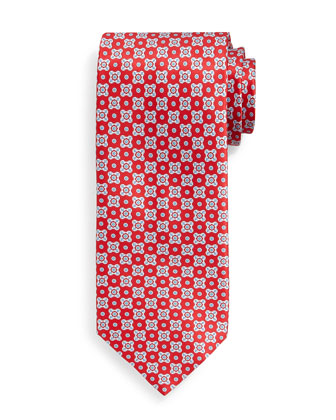 Neat Square-Patterned Silk Tie, Red