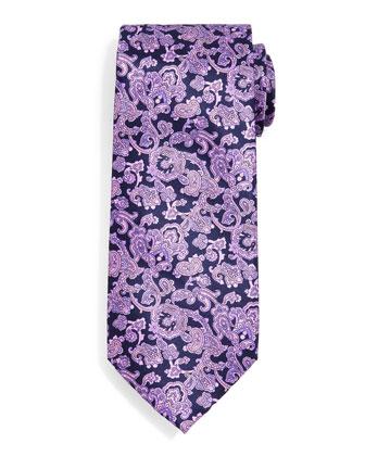 Paisley-Print Silk Tie, Purple