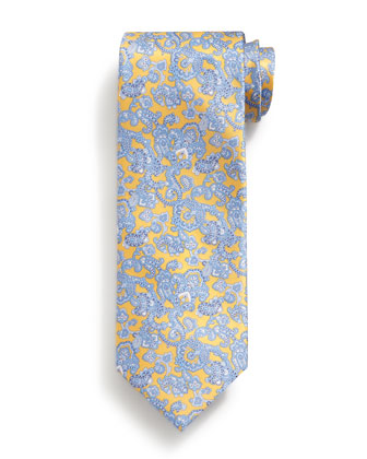 Paisley-Print Silk Tie, Yellow
