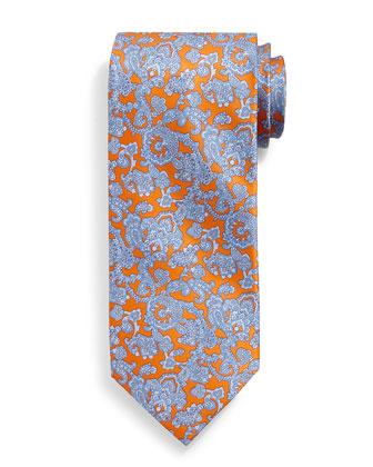 Paisley-Print Silk Tie, Orange