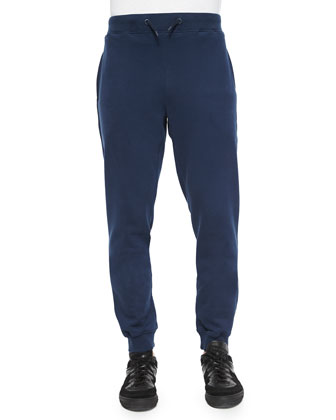 Tapered Cotton Sweatpants, Navy