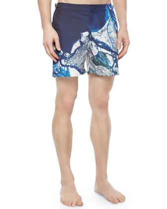 Bulldog Abu Dhabi Print Swim Trunks, Blue