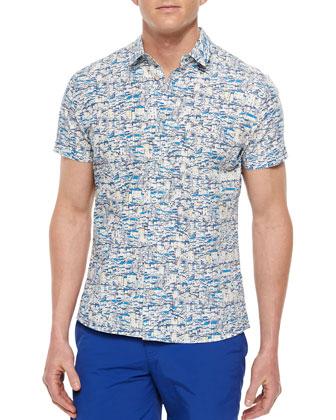 Pelham Digital-Print Linen Shirt, Blue