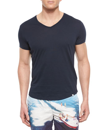 Bobby V-Neck Tee, Navy