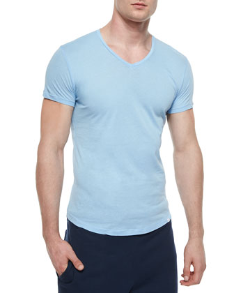 Bobby V-Neck Knit Tee, Sky Blue
