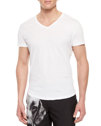 Bobby V-Neck Tee, White