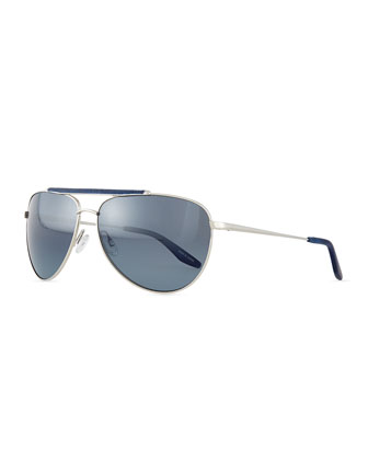 Breed Love Aviator Sunglasses, Silver/Navy
