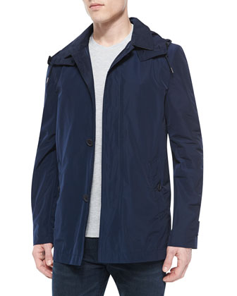 Nylon Single-Breast Trenchcoat, Navy
