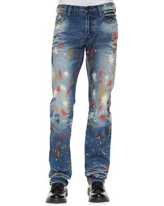 Goodlife Paint-Splatter Denim Jeans, Light Indigo