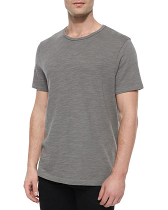 Basic Crewneck Short-Sleeve Tee, Charcoal