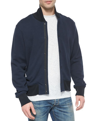 Knit Varsity Jacket, Striped Short-Sleeve Tee & Slim-Fit Distressed Denim Jeans