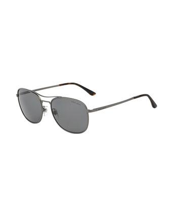 Square Polarized Sunglasses, Matte Gunmetal