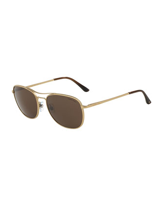Full Rim Square Sunglasses, Pale Gold