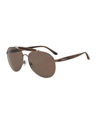 Full-Rim Acetate Aviator Sunglasses, Matte Bronze