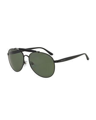 Full-Rim Acetate Aviator Sunglasses, Matte Black
