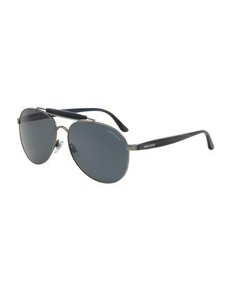 Full-Rim Acetate Aviator Sunglasses, Matte Gunmetal