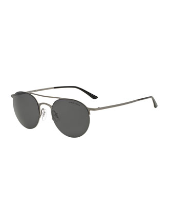 Semi-Rim Round Aviator Sunglasses, Matte Brushed Gunmetal