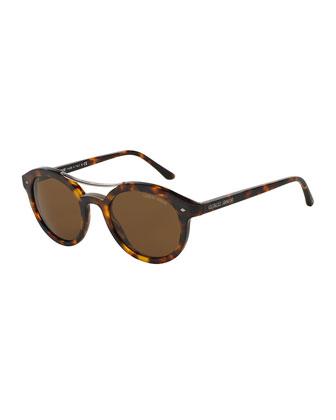 Panto Full-Rim Acetate Sunglasses, Matte Havana