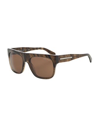 Full-Rim Square Acetate Sunglasses, Striped Brown